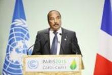 Le Président mauritanien Mohamed Ould Abdel Aziz prenant la parole à la Cop 21