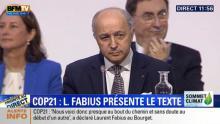 Laurent Fabius Ministre français annonçant le projet d'accorde Cop Z21