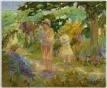 Famille au jardin de l'artiste Robert Nyel