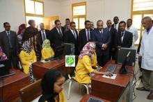 Visite par le Président de la République, Mohamed Ould Abdel Azize de la première école fondamentale d'excellence ouverte dans le pays, dans la moughataa de Tevregh Zeina